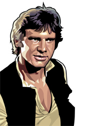 Han Solo Foil-For Topps Star Wars Galaxy 5 My Star wars Art was featured in a 15 card FOIL subset. These were considered chase cards. Each card was printed on Bronze, Silver, Gold and Prismatic Foil.