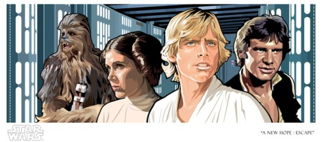 Official Star Wars Fine Art Print: A New Hope: Escape