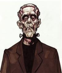 Frankenstein's Monster from tutorial in Creature Features Marker on bristol 9 X 12