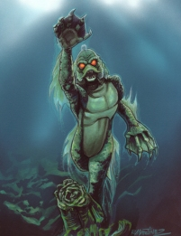 The Gillman from the bonus gallery in Creature Features Marker and colored pencil on bristol 9 X 12