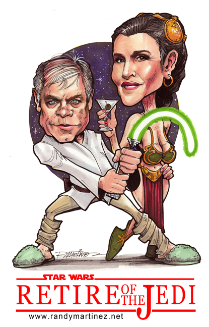 Retire of the Jedi, Luke and Leia. Marker on Bristol 9 X 12