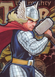 Thor-Marker and Colered pencil collage sketch card 2.5 X 3.5