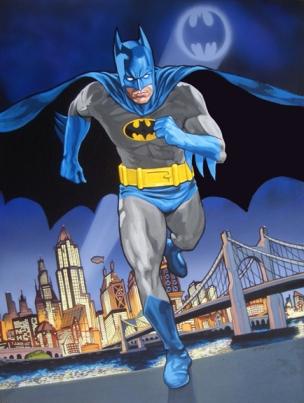Bat Man, Gotham City, Acrylic on Canvas and Wood Panel